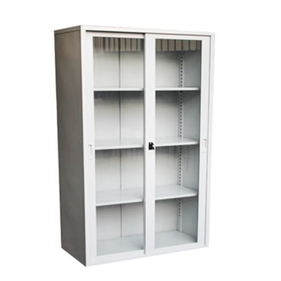 steel and glass display cabinet