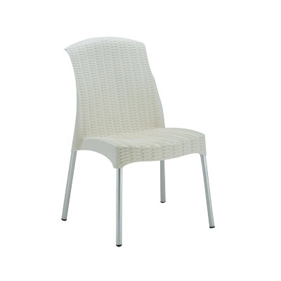 white plastic chairs with metal legs