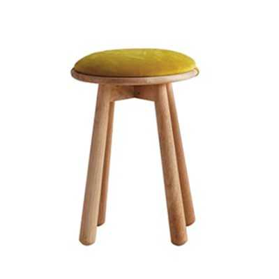 Stool, 18mm-thick Solid Rubberwood, Fabric Ct01151