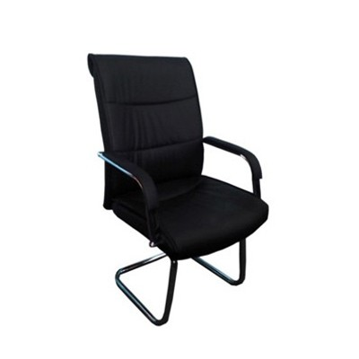 Leatherette Visitors Chair, Chrome Silver Legs Sa2010